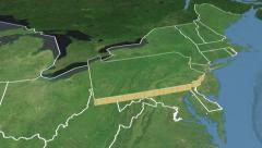 Pennsylvania state (USA) extruded. Satellite map. - stock footage