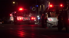 Night winter Christmas light parade fire trucks 4K 044 Stock Footage