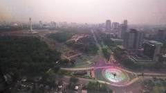 Time lapse Heavy Traffic Area Around Monumen Nasional (Monas) Jakarta Stock Footage
