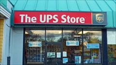 UPS shipping storefront loop Stock Footage
