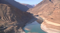Wide Shot of Indus river at Nimmu town in Ladakh, India (Jammu & Kashmir) Stock Footage