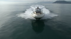 Aerial view of a maxi rib navigating  Stock Footage
