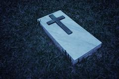 grave marker at a cemetery in singapore, in black and white - stock photo