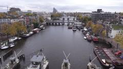 Amsterdam Amstel 360 View City Quadcopter Stock Footage