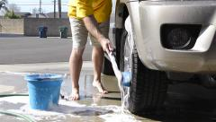 Washing car tire Stock Footage