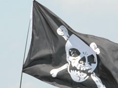 Piracy flag. Related clips are in my portfolio in 1920x1080. - stock footage