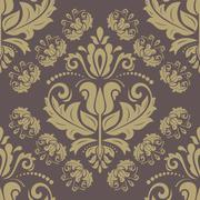Wallpaper in the style of Baroquen. Abstract Vector Background. Brown and Golden - stock illustration