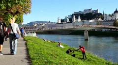The riverside of River Salzach in Salzburg Stock Footage