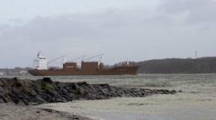 Cargo Ship in Kiel Germany Stock Footage