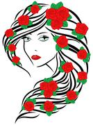fashionable women with roses on hair - stock illustration