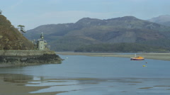 Lifeboat Abberamffra Harbour Snowdonia 4K - stock footage
