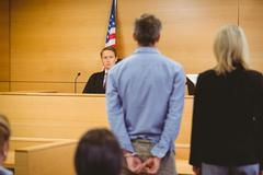 Criminal waiting for courts ruling - stock photo