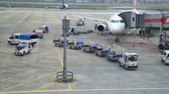 Luggages  loaded onto an airplane Stock Footage
