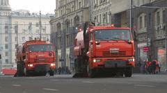 Sweeper trucks cleaning Tverskaya street Stock Footage