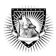 Wolf shield Stock Illustration
