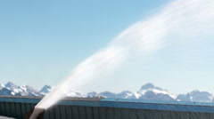 Snow Cannon Produces Artificial Snow At Skiing Center Stock Footage