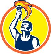 Stock Illustration of athlete player raising flaming torch circle retro
