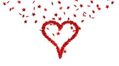 background from lots of red stars making one big heart - stock illustration