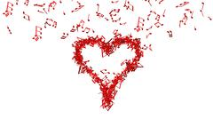 background from lots of red music notes making one big heart - stock illustration