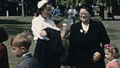 England 1955: family at the park - stock footage