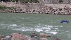 Video 1920x1080 - Indian people rafting in a Ganges River, Rishikesh, India Stock Footage