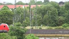 ULTRA HD 4K Passenger train pass electric german railway rail transport people - stock footage
