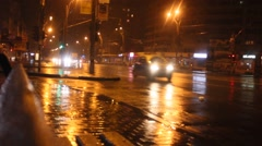 night city road cars in rainy weather - stock footage