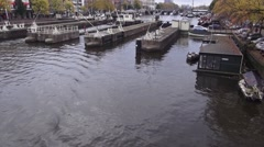 Amsterdam Amstel View City Quadcopter Stock Footage