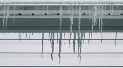 Time lapse of icicles melting in winter 4K Stock Footage