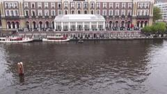 Amsterdam Amstel Hotel Quadcopter View Stock Footage