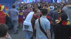 German football fan enjoy big screen Berlin city happy supporters championship Stock Footage