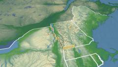 Vermont state (USA) extruded. Physical map. Stock Footage