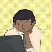 Happy man with laptop Stock Illustration