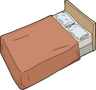 Bed with brown blanket Stock Illustration