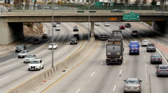 Stock Video Footage of Time Lapse of Traffic on Busy Freeway in Downtown Los Angeles California