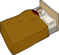 anxious man unable to sleep - stock illustration