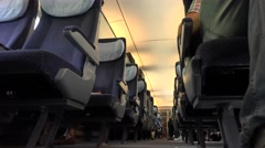 ULTRA HD 4K Interior Intercity express train people commute travel day transport Stock Footage