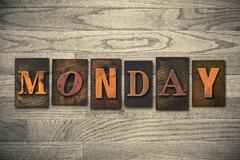 monday concept wooden letterpress type - stock photo
