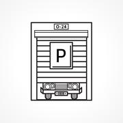 Stock Illustration of Line vector icon for parking garage