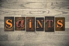 Saints concept wooden letterpress type Stock Photos