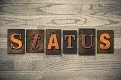 Status concept wooden letterpress type Stock Photos