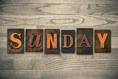 Sunday concept wooden letterpress type Stock Photos