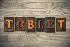 Tablet concept wooden letterpress type Stock Photos
