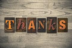 Thanks concept wooden letterpress type Stock Photos