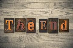 The end wooden letterpress concept Stock Photos
