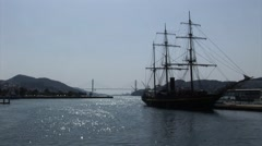 Nagasaki Sailing wooden ship Stock Footage