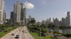 Panama City View of Avenida Balboa Cinta Costera And Skyline 4K Stock Footage