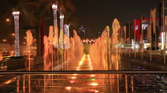 Multicolor fountains by night Stock Footage