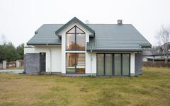exterior view of detached house - stock photo