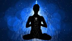 Animation Meditation with Particle 11 blue - stock footage